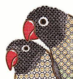 """Blackwork Love Birds """"What you Looking at"""" Prachtig, zeker het gebruik van toch wat kleur."""
