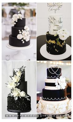 For a complex celebration, stick to the tried-and-true method: black and white!This classic combination is timeless and versatile enough to match any wedding theme or venue. Black Wedding Themes, Black And White Wedding Theme, White Wedding Decorations, Black And White Wedding Invitations, Gold Wedding Theme, White Wedding Cakes, Black Tie Wedding, Wedding Ideas, Wedding Stuff