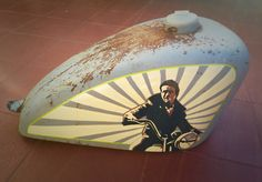 1-shot, pinstriping, James Dean, gas tank, custom paint, motorcycle, gas tank art, hand paint, lettering, sportster, triumph