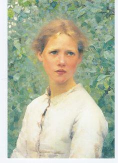 """""""A girls head"""" 1886 Sir George Clausen (1852 - 1944)"""