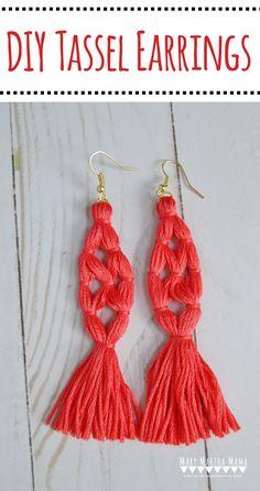How to Make Tassel Earrings- DIY tassel earrings tutorial by Mary Martha Mama #tasselearrings #diyjewelry #makeyourownjewelry