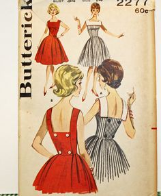 Vintage 1960s Sewing Pattern Butterick 2277 Misses'
