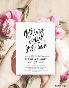 Nothing fancy just love wedding invitation template Funny Elopement announcement, Reception invitation template Digital Funny Wedding Invitations, Diy Invitations, Wedding Invitation Templates, Wedding Stationery, Reception Only Wedding Invitations, Invitation Ideas, Cheap Wedding Reception, Wedding Planner, Invitation Suite