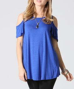 This Royal Blue Cutout Swing Top - Plus is perfect! #zulilyfinds
