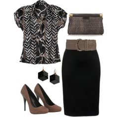 lol, this was once my uniform: shirt + pencil skirt + waist belt + heels & clutch.