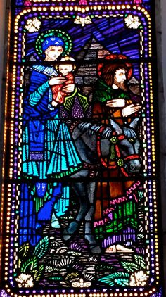 Timoleague flight to Egypt Harry Clarke, Church Windows, Cathedral Church, Irish Art, Arts And Crafts Movement, Beveled Glass, Stained Glass Windows, Wonderful Images, Nativity