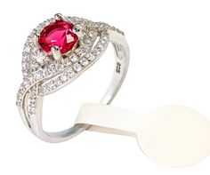 Valentine day Special - 18 Kt white gold diamond setting wedding ring with gemstone