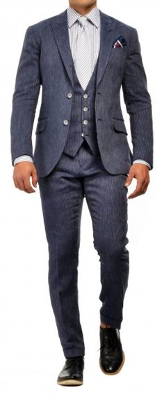 Mid Navy Pinstripe Three-Piece Suit