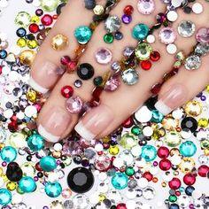 2000Pcs Rhinestones Crystal Nail Studs Manicure Nail Art Decorations