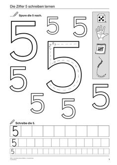 Number 5 writing mathematics grade and preschool Vorschulübungen Learning To Write, Learning Tools, Kids Learning, Learn Math, Math Worksheets, Math Resources, Preschool Activities, Math For Kids, Lessons For Kids