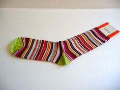 Men's Colorful Orange Multi-Color Striped Socks One Size NWT Neiman Marcus #NeimanMarcus #Casual
