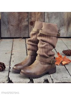 b27f543c5814 Plain Woolen Round Toe Casual Outdoor Mid Calf Flat Boots - berrylook.com Shoes  Boots