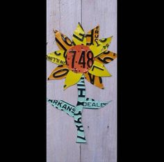License Plate Art - Sunny Sunflower - Recycled Art Company - Salvaged Wood - Upcycled Artwork