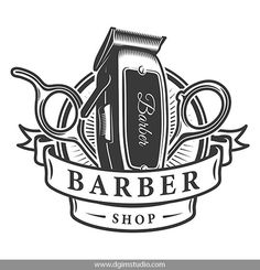 Vintage Monochrome Barbershop Vector Design with a hair dipper and scissors. Barber Shop Interior, Barber Shop Decor, Hair Salon Interior, Salon Interior Design, Salon Design, Vector Design, Logo Design, Best Barber Shop, Barber Logo