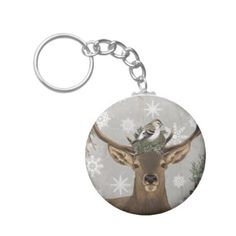 modern vintage rustic woodland winter deer keychain - winter gifts style special unique gift ideas