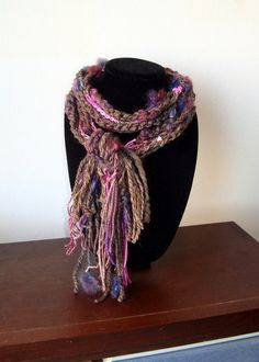 Burgardy Blue Brown. Pink  FiberArt Barbara by LuDesignsCreations, $38.00