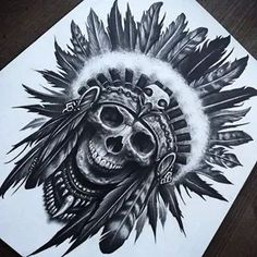 Increible diseño de indio calavera .. Tattooideas