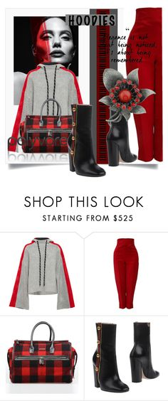 """""""In My Hood: Cozy Hoodies"""" by kari-c ❤ liked on Polyvore featuring ZoÃ« Jordan, Versace, Dsquared2, Gucci and Hoodies"""