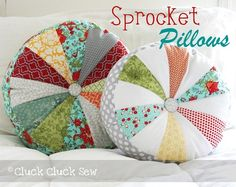 Sprocket Pillows; fairly easy craft; personalize colors for any decor, add some geometric interest over standard square pillows.