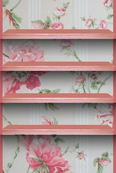 Floral wallpaper with shelves