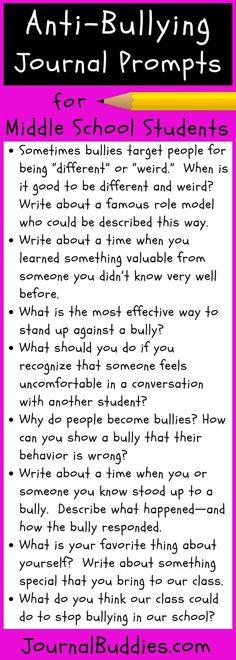 5 Anti-Bullying Activities for Students + 10 bonus journal prompts Anti Bullying Activities, Bullying Lessons, Teaching Activities, Therapy Activities, Counseling Activities, Elementary Counseling, School Counseling, Elementary Education, Writing Prompts For Kids