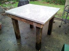 Prep table made from scrap granite & wood