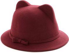 Felt hat with cat ears