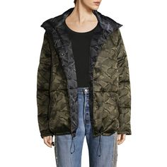 Kendall + Kylie Reversible Camo Puffer Jacket ($192) ❤ liked on Polyvore featuring outerwear, jackets, camo windbreaker jacket, wind jacket, camoflauge jacket, puff jacket and camo windbreaker