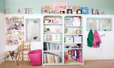 I love how organized these kids shelves are and pretty!