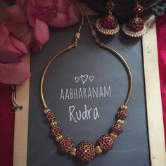 A truly mesmerizing one from . For inquiries contact details are given below. Seller Name Diy Jewelry Necklace, Beaded Jewelry, Gold Jewelry, Ruby Necklace, Antique Jewellery, Gold Bangles, Necklace Designs, Necklace Set, Earrings