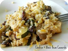 Healthy chicken and black bean casserole -  one of my top favorite Pinterest finds!  I make it about twice a month now, and have taken it to friends in need of a yummy dinner.  It doesn't make quite enough so I  1 1/2 this recipe or triple it for 2 9x13 pans.