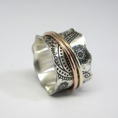 Vintage Inspired Paisley Sterling Silver Spinner Ring