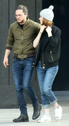 Real-Life GoT Couple Kit Harington and Rose Leslie Take a Cozy Stroll in Northern Ireland from InStyle.com