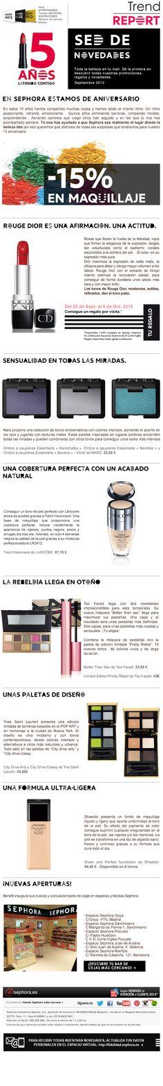 Newsletter Sephora. E-mailing. Programa de fidelización. CRM Sephora, Marketing