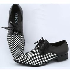 Men Black White Checker Lace Up Fashion Wedding Prom Dress Oxford Shoes SKU-1100110