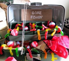 Camping Birthday Party Decorations | Gone Fishing tackle box | Campout Party Theme