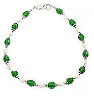 """Emerald Czech Crystal, Mother of Pearl & Sterling Silver Daisies Anklet - 10"""" Timeless Treasures. $37.99. Satisfaction Guaranteed. Available Lengths: 9"""" - 12"""""""