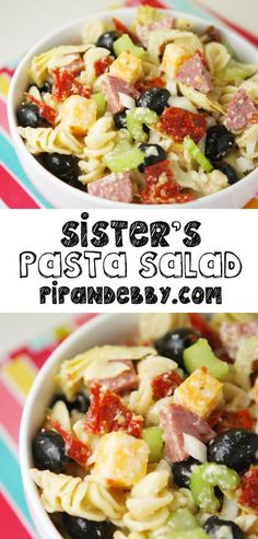 This is my sister's pasta salad recipe and it is the BEST. Hands down. You have just found your new favorite pasta salad. :)