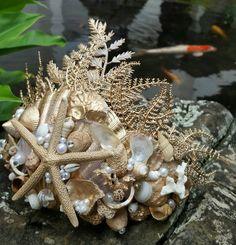 Mermaid Sea Queen Crown Golden Seas Handmade in by LittleGrassShak