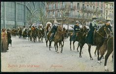 Circus Buffalo Biull Wild West Horse lady in Germany original old 1910s postcard