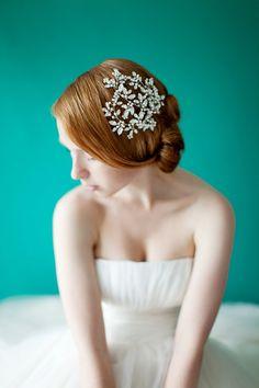 Wedding, Floral Bridal headpiece, Crystal Headpiece, Wedding Hair Accessory, Ivory, Silver - Style 229 via Etsy