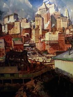 """Manhattan Rhythms, ca.1915, New York City, by Leon Kroll."