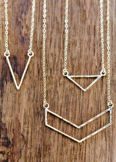Leonani necklace - gold triangle necklace gold by www.kealohajewelry.com https://www.etsy.com/listing/217356252