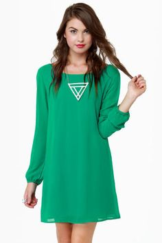 Dinner for Two Green Shift Dress by Honey Punch