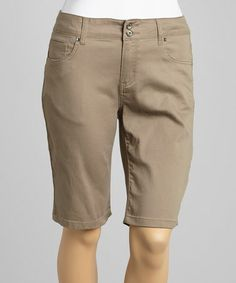 Look at this #zulilyfind! Khaki Bermuda Shorts - Plus by Blue Savvy #zulilyfinds