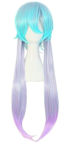 Anime Short Top w/Long Straight Hair-Anime Wig-75 cm-Color-Aqua Neon Top/Light White Length w/Fade Purple/Pink-Womens.  Imported: Takes up 20-25 days for arrival.  Material : 100% Top Kanekalon Fiber  Adjustable Monofilament Net  Length: 75 cm.  Textile: Short Bangs/Long Straight.  Fi...