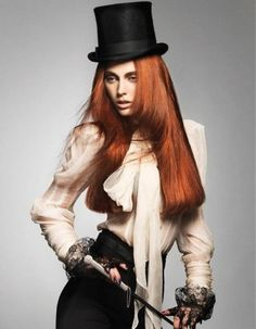 love hair, top hat & lighting. Different expression.... clothes?