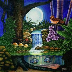 Original fantasy nature painting with more action than a John Wayne movie.