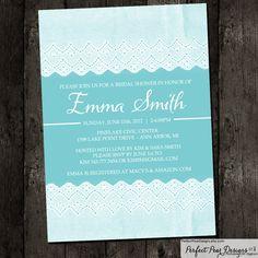 Bridal Shower Invitation, Vintage Lace, Turquoise Blue, Spring, Tiffany Blue - Birthday Retirement New Baby boy girl DIY Digital Printable