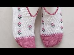 Knitting Videos, Fair Isle Knitting, Crochet Shoes, Baby Knitting Patterns, Lana, Slippers, Relleno, Fashion, Socks